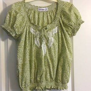 Cotton boho spring top green and white